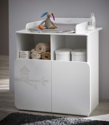commode table a langer hiboux blanc