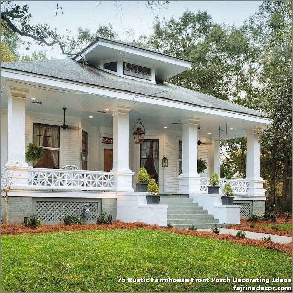 75 Rustic Farmhouse Front Porch Decorating Ideas In 2020 Craftsman Style Homes House Styles House Exterior