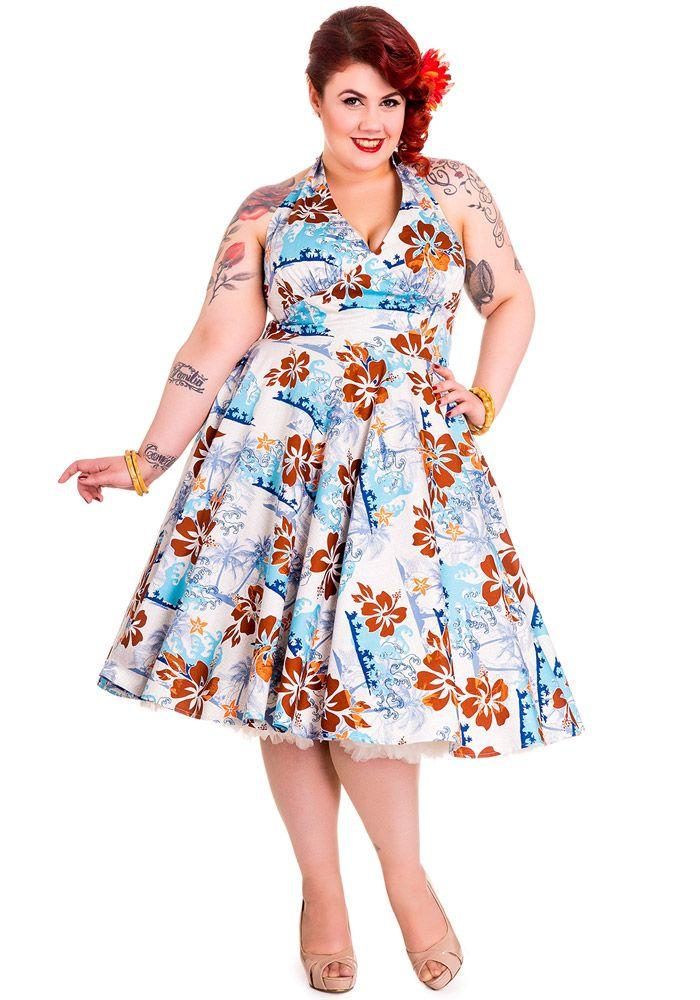 c960bedcc22 Blue Hawaiian Tiki 50s Dress by Hell Bunny (Original