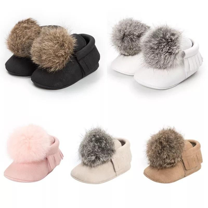 Leather Shoes Cute Pompom Small Ball Pompom Soft Anti-slip Prewalker For Baby