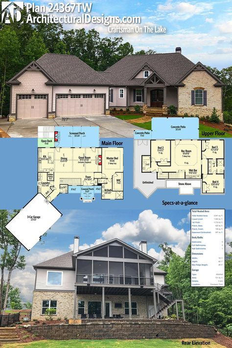 Plan 24367TW: Craftsman On The Lake   Craftsman house plans ...