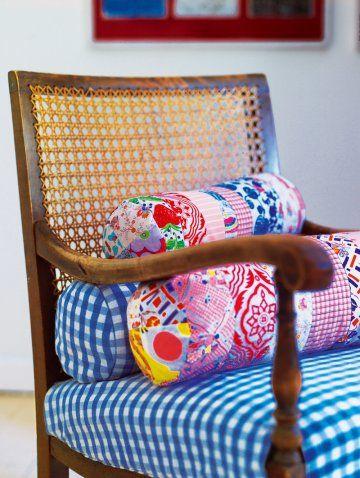 Patchwork bolster pillows
