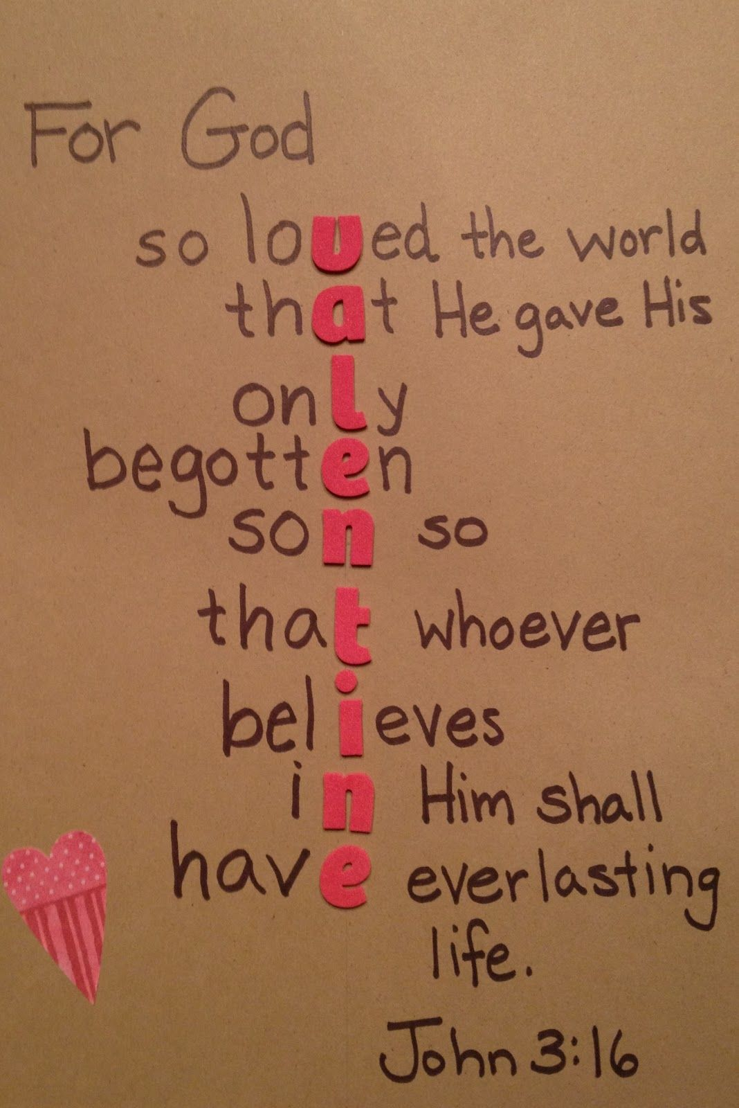 For God So Loved The World Valentine Craft