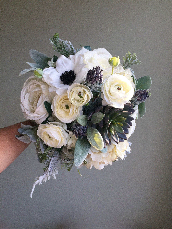 Winter Wedding Bouquet, Silk Wedding Bouquet, White Bridal