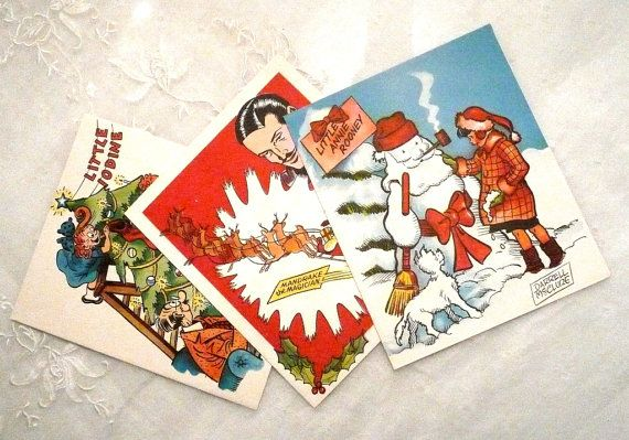 Set of 3 King Features Comic Christmas by southernvintagerose, $14.00