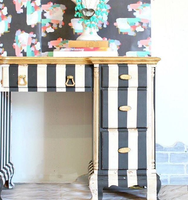 A rustic glam desk in #blackandwhite #stripes and a glam #gold top make this desk for a #girlboss , don't you think?  All the deets are #ontheblog