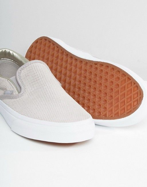 21eed4ba276895 Vans Classic Nude Perforated Suede Slip On Trainers