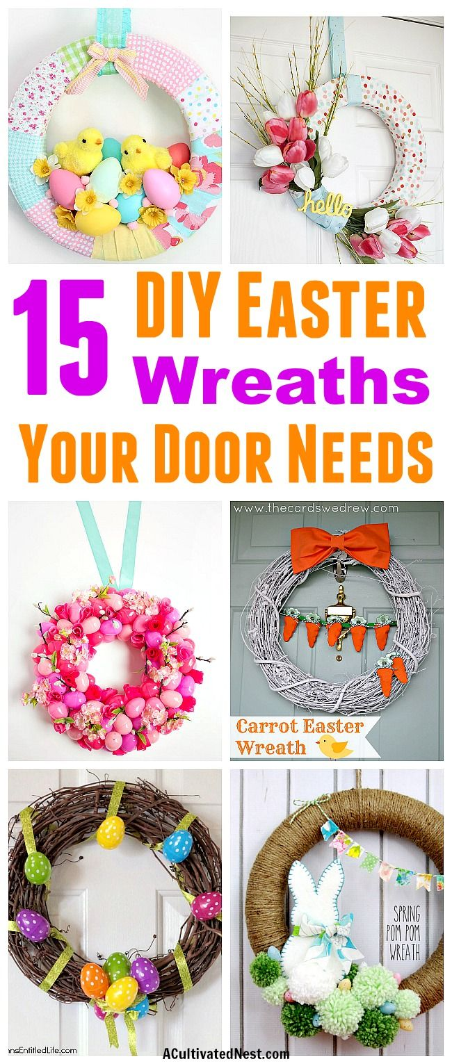 15 Gorgeous DIY Easter Wreaths | Front door decor, Wreaths crafts ...