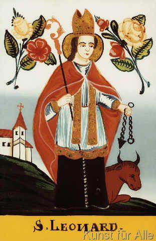 19. Jahrhundert - Der heilige Leonhard / Hinterglasmalerei