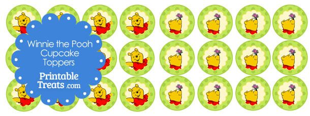 Baby Shower Instant Download Birthday Party Supplies Children\u2019s Book Pooh Cake Toppers Classic Yellow Bear DIY Print