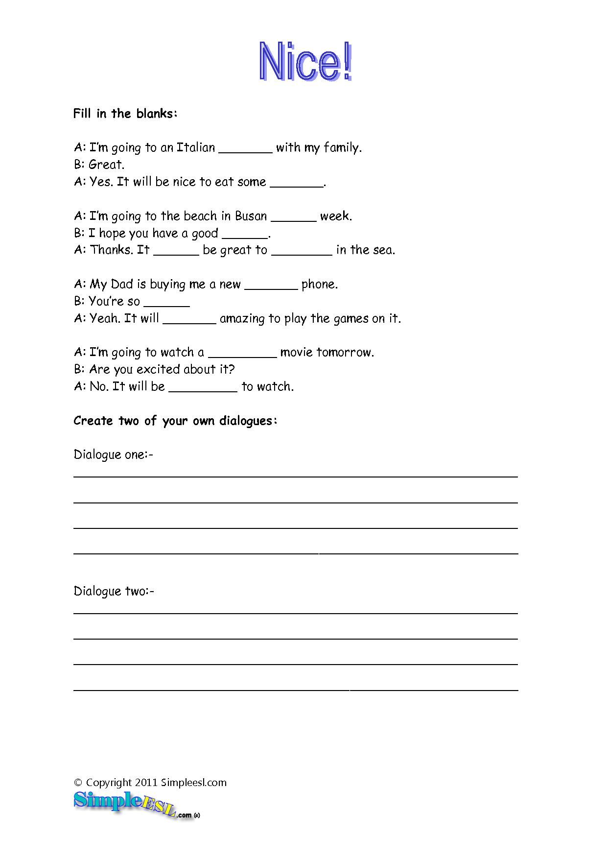 Printable Englishlanguage Arts worksheets from Super Teacher – Will Worksheet