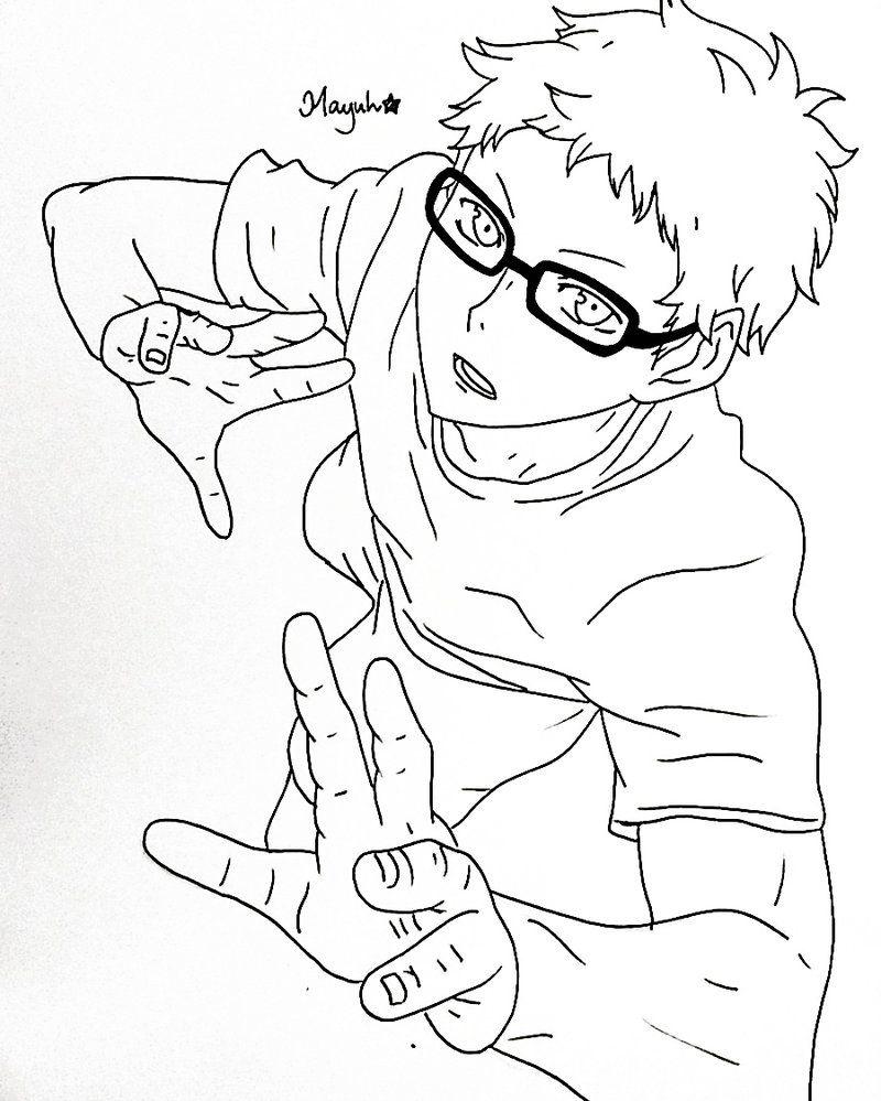 Tsukishima Kei Wip Haikyuu By Mayu012 On Deviantart In 2020 Anime Character Drawing Anime Canvas Anime Lineart