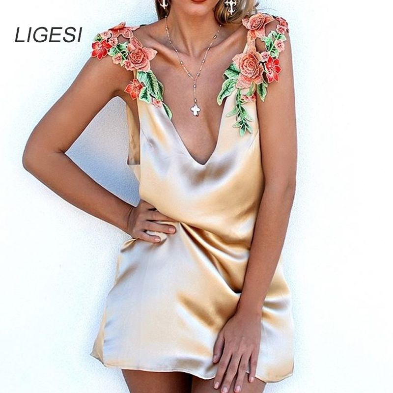 Cheap dress vestidos, Buy Quality beach dress directly from China summer dress Suppliers: LIGESI Flower embroidery v neck summer dress women Sexy sleeveless loose beach dress 2017 slip party backless dresses vestidos
