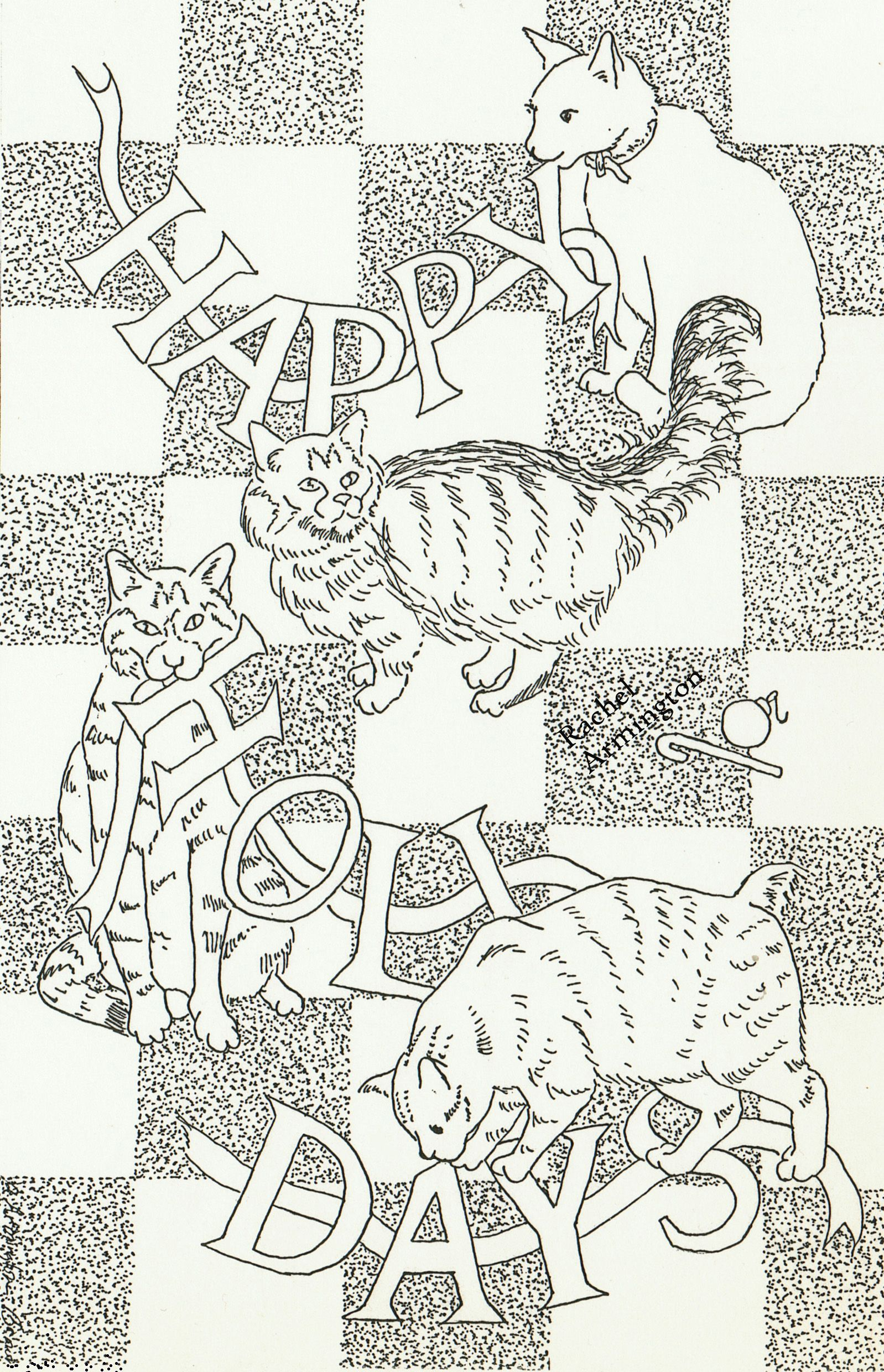 Free coloring page Christmas Cat Coloring Sheet from 1993 Card by ...