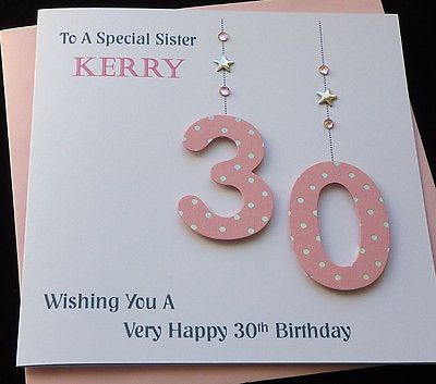 Personalised Handmade Pink Numbers 40th 50th 60th 70th 80th 90th Birthday Card In Crafts Cardmaking Scrapbooking Hand Made Cards