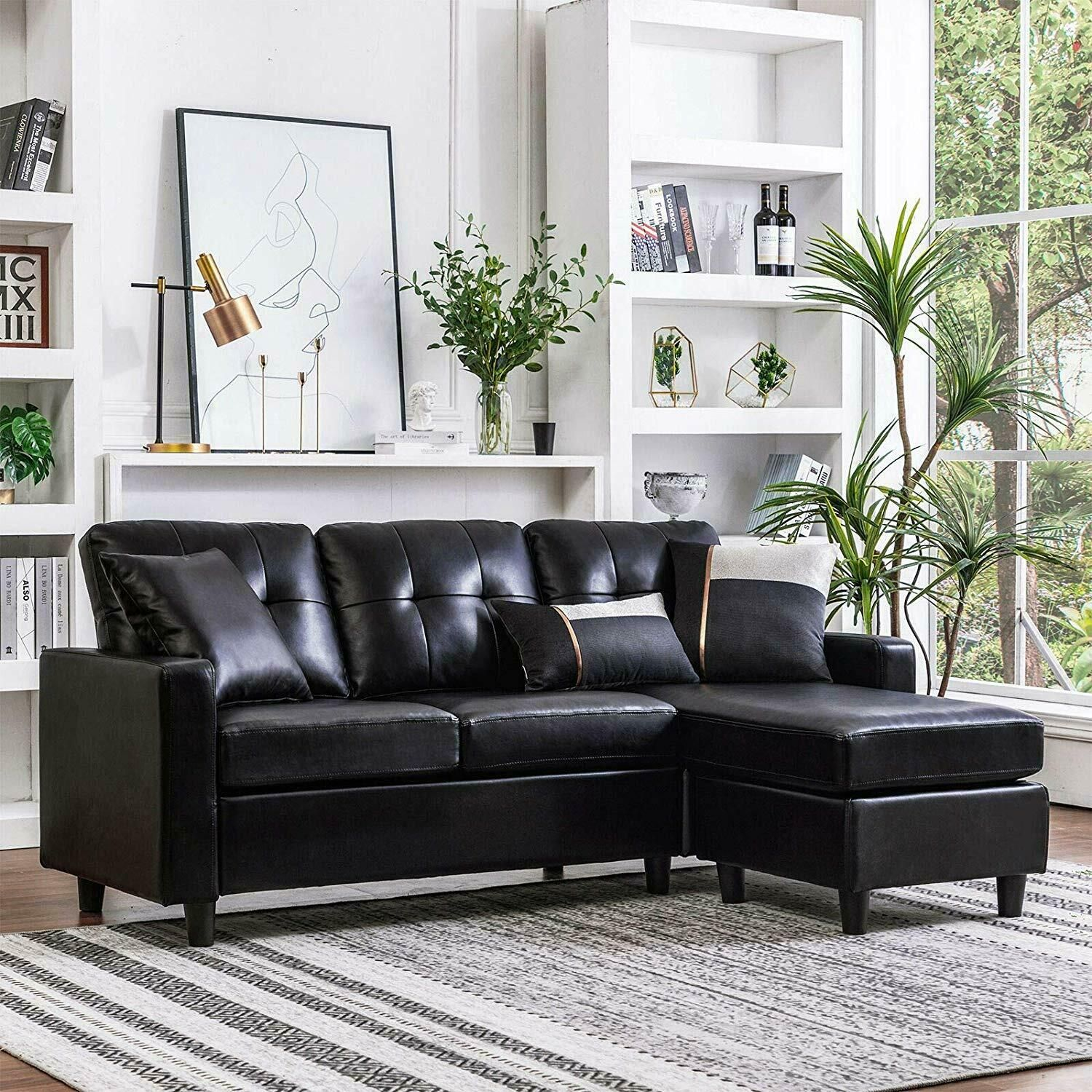 Convertible Sectional Sofa Couch Leather LShape Couch