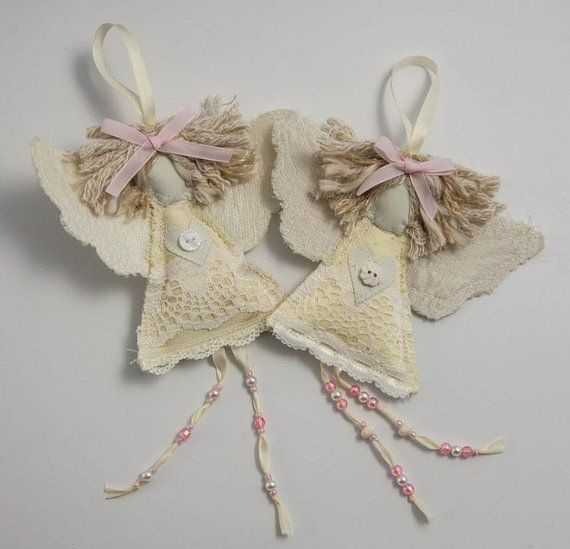 Baptism Ornament Cross Ornament Girl Baptism Ornament Girl: Baptism Guardian Angel Gift. Shabby Chic Keepsake For New