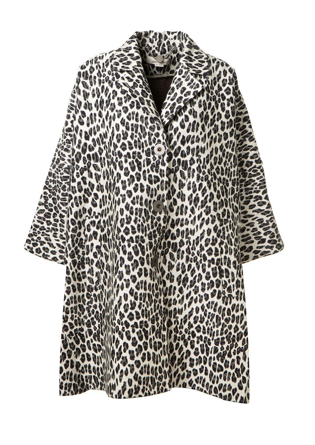STELLA MCCARTNEY STELLA MCCARTNEY GREY LEOPARD PRINTED WOOL COAT. #stellamccartney #cloth #