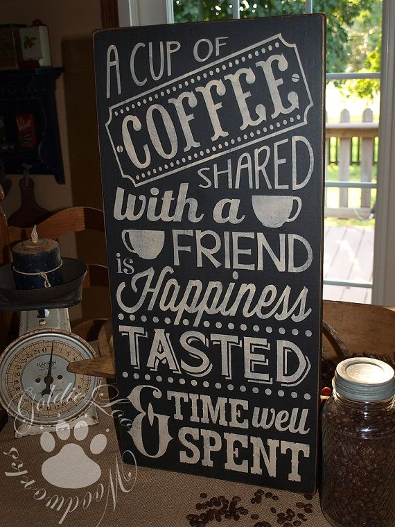 Coffee With A Friend Chalkboard Art Word by GoldieLooWoodworks
