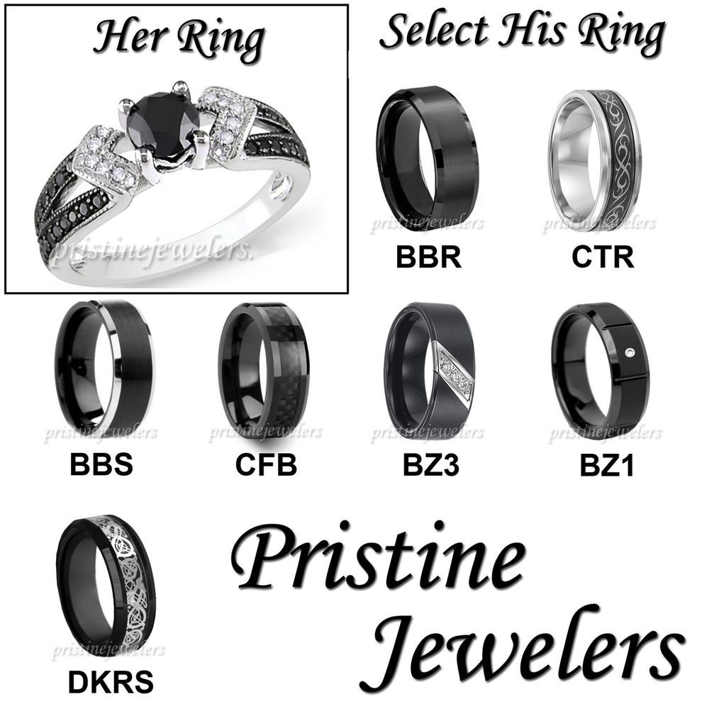 His U0026 Hers Wedding Ring Womens .925 Sterling Mens Silver Black Tungsten  Band SET