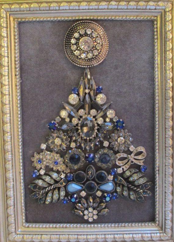 Jeweled Framed Jewelry Art Christmas Tree Silver Gray Blue Navy