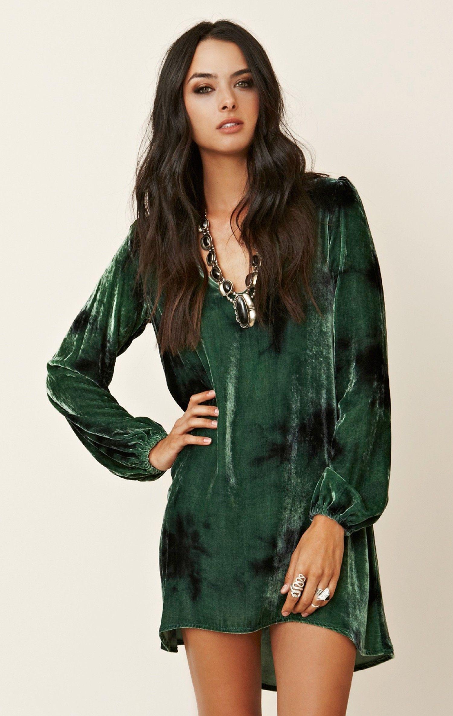 Green dress v neck  VNeck Tie Dye Velvet Bell Sleeve Dress  Moon Sleeved dress and