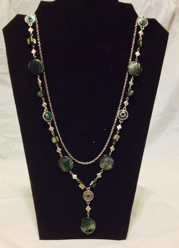Layered  Blue  Green  Siver  Beaded Necklace  by JWDesignerJewelry, $20.00