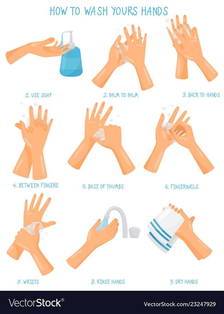 Washing Hands Step By Step Sequence Instruction Vector Image On In