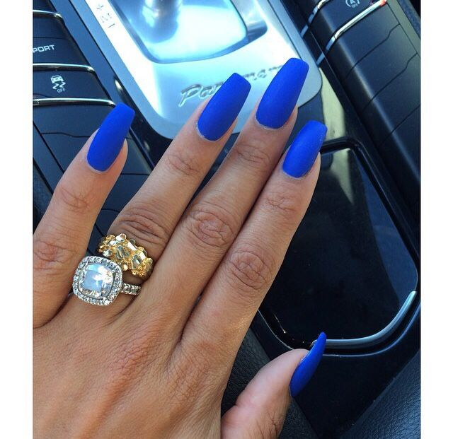 Long Blue Nails with Enormous Diamond Ring | Matt nails, Heather ...