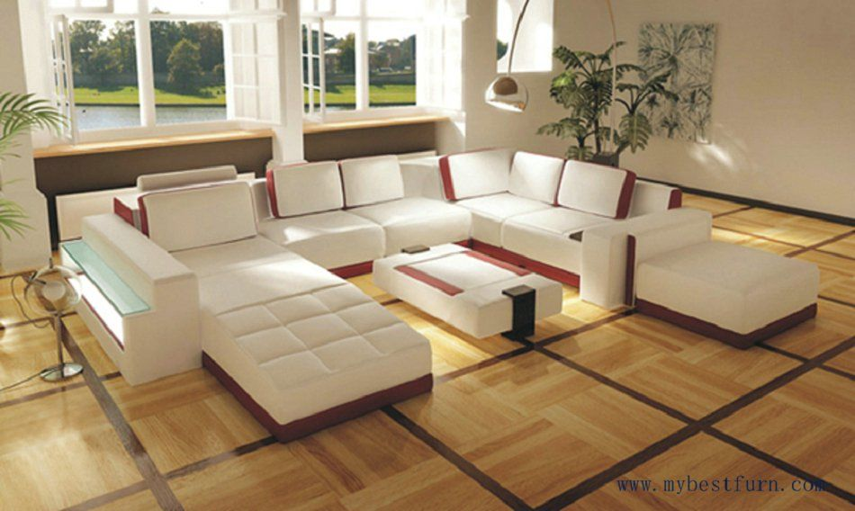 Free Shipping Luxury Design Sofa, Genuine Leather U Shaped Villa Sofa Set,  Include Table