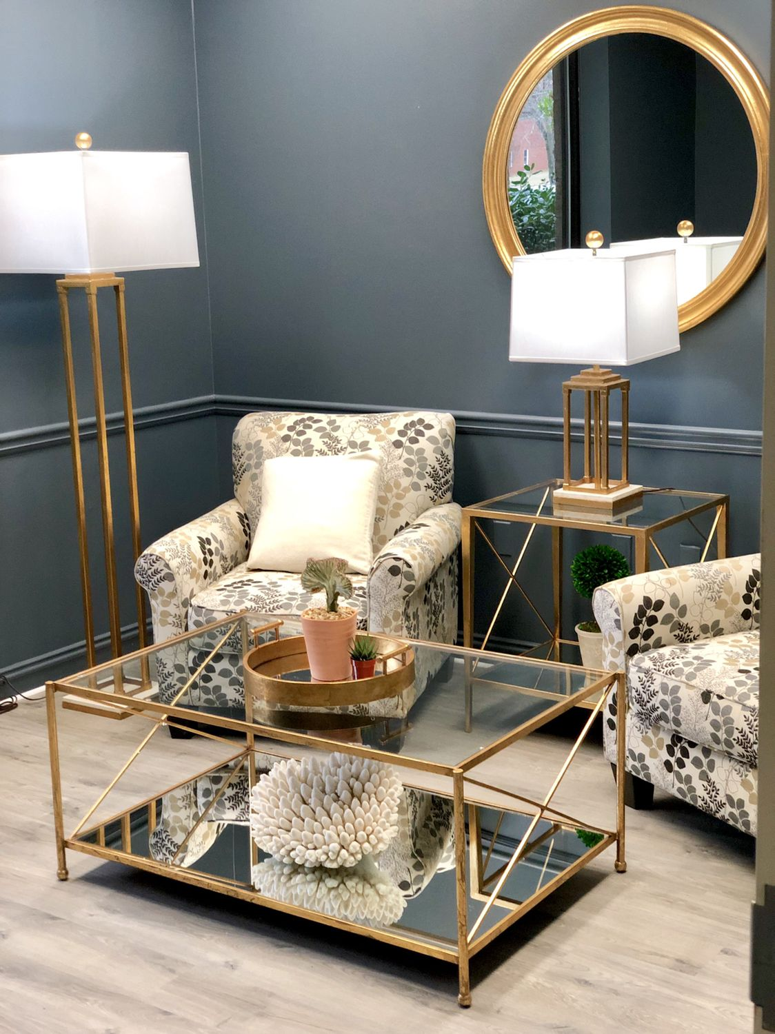 Iris Gold Leaf Cocktail Table By Lillian Home Decor Living Room Coffee Table Coffee Table Glass Table Living Room [ 1500 x 1124 Pixel ]