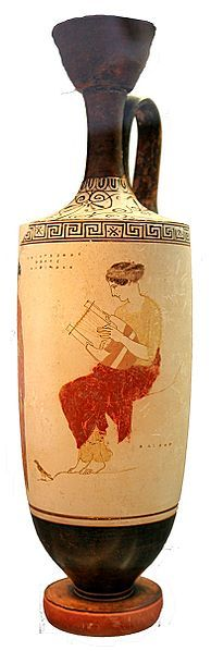 Muse Playing The Lyre The Rock On Which She Is Seated Bears The Inscription Hlikon Helikon Attic White Ground Lekythos 440 Ancient Greek Art Greek Pottery