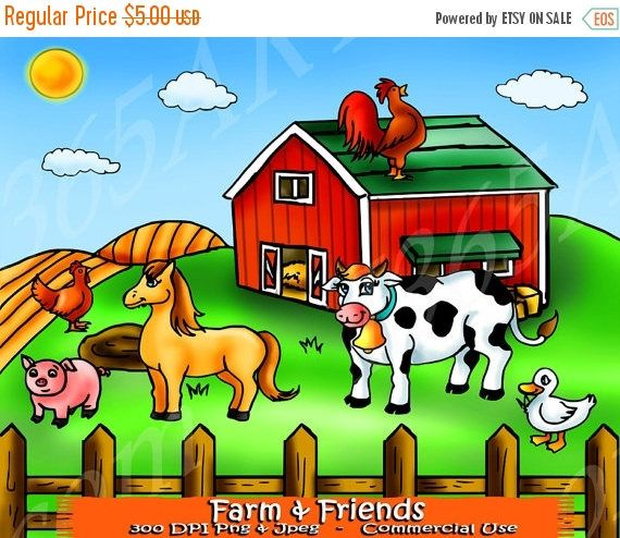 50 OFF Farm Animals Clipart Clip Art Scrapbooking Background Horse Cow Duck Hen Rooster Pig Barn House PNG JPEG Commercial Use By
