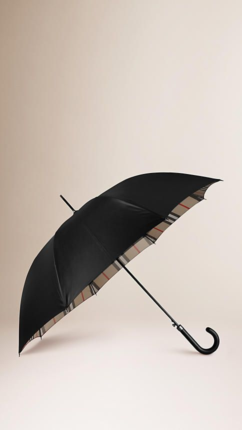 Burberry Black Camel Check Check-Lined Walking Umbrella - Walking umbrella with a check-lined canopy. Leather handle with statement stitching Push button to open. Discover more accessories at Burberry.com