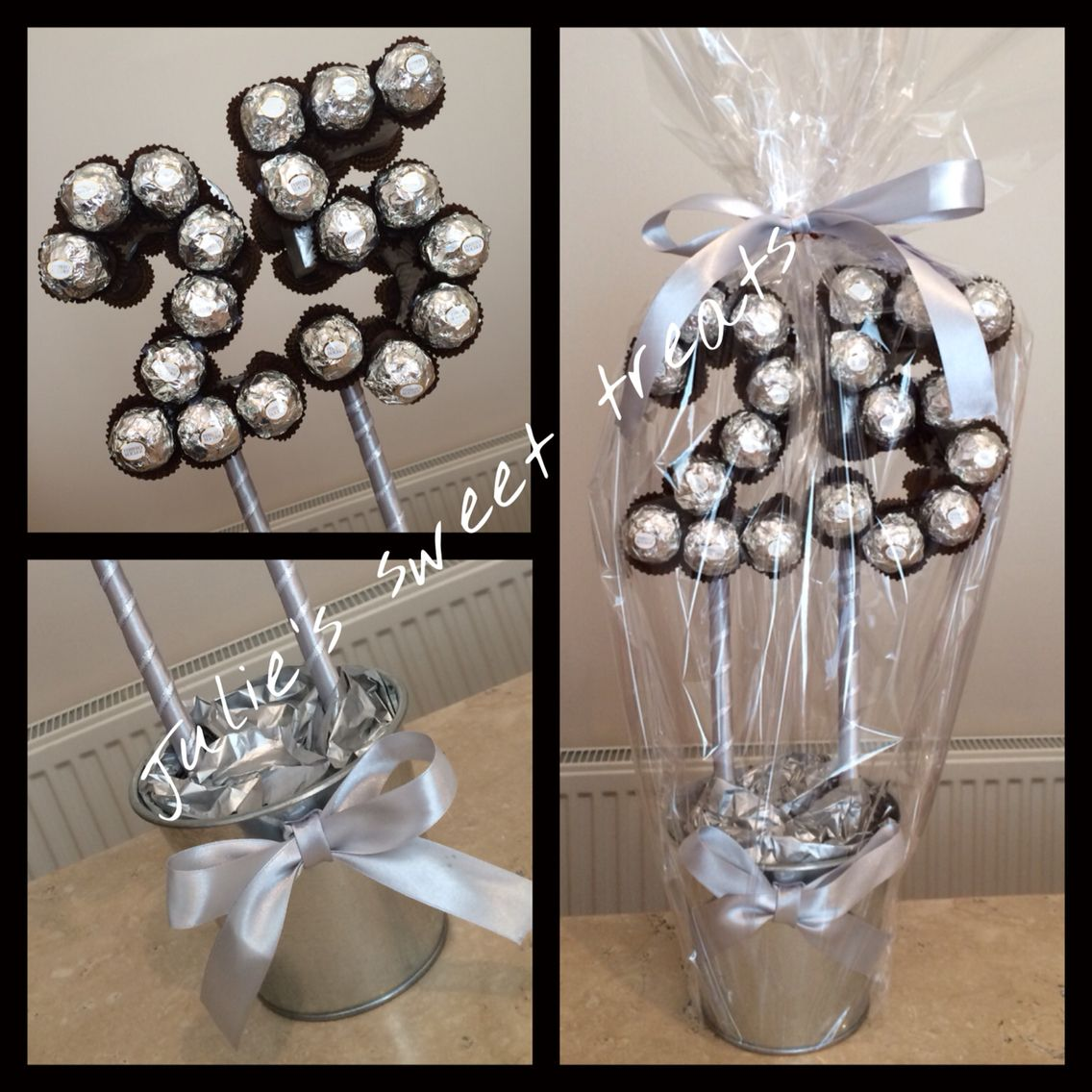 25th silver wedding anniversary sweet tree created using original ferrero rochers 25 candy. Black Bedroom Furniture Sets. Home Design Ideas