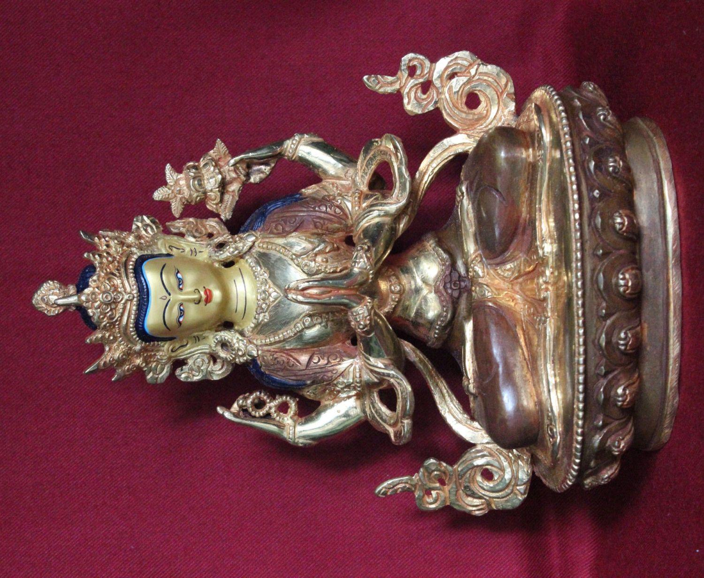 Chenrezig Kharcheri Buddha Half Gold Statue Handmade in Nepal(STK020) by ShakyaHandicraft on Etsy