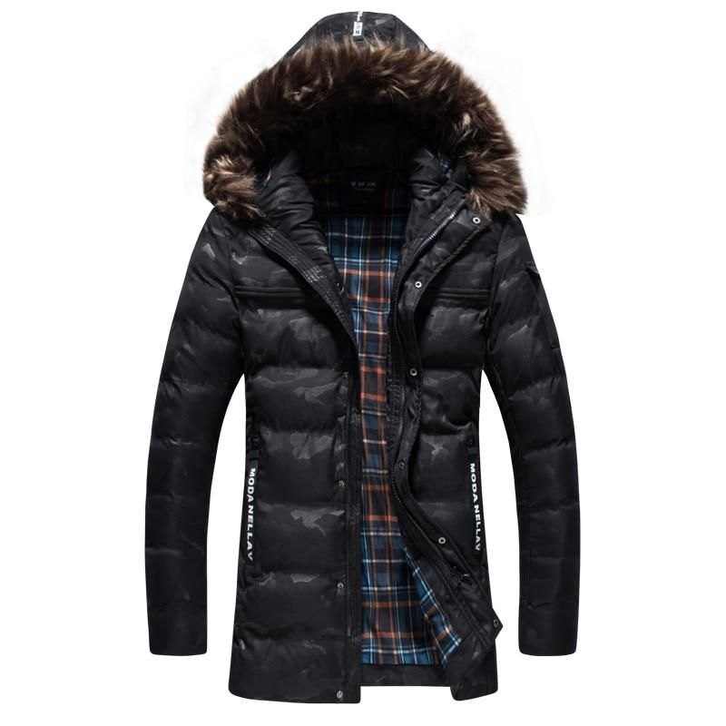 Hurrg Mens Faux Fur Hooded Quilted Warm Camo Print Outdoor Down Jacket