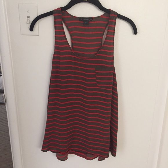 Forever 21 Striped Top Forever 21 striped top! Worn once! Olive and red! Size small! NO TRADES Forever 21 Tops