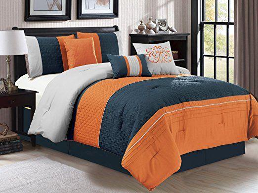 7 Pc Clamshell Trellis Scroll Embossed Pleated Striped Comforter Set Orange Navy Blue Gray King Unique Bedding Sets Unique Beds Comforter Sets