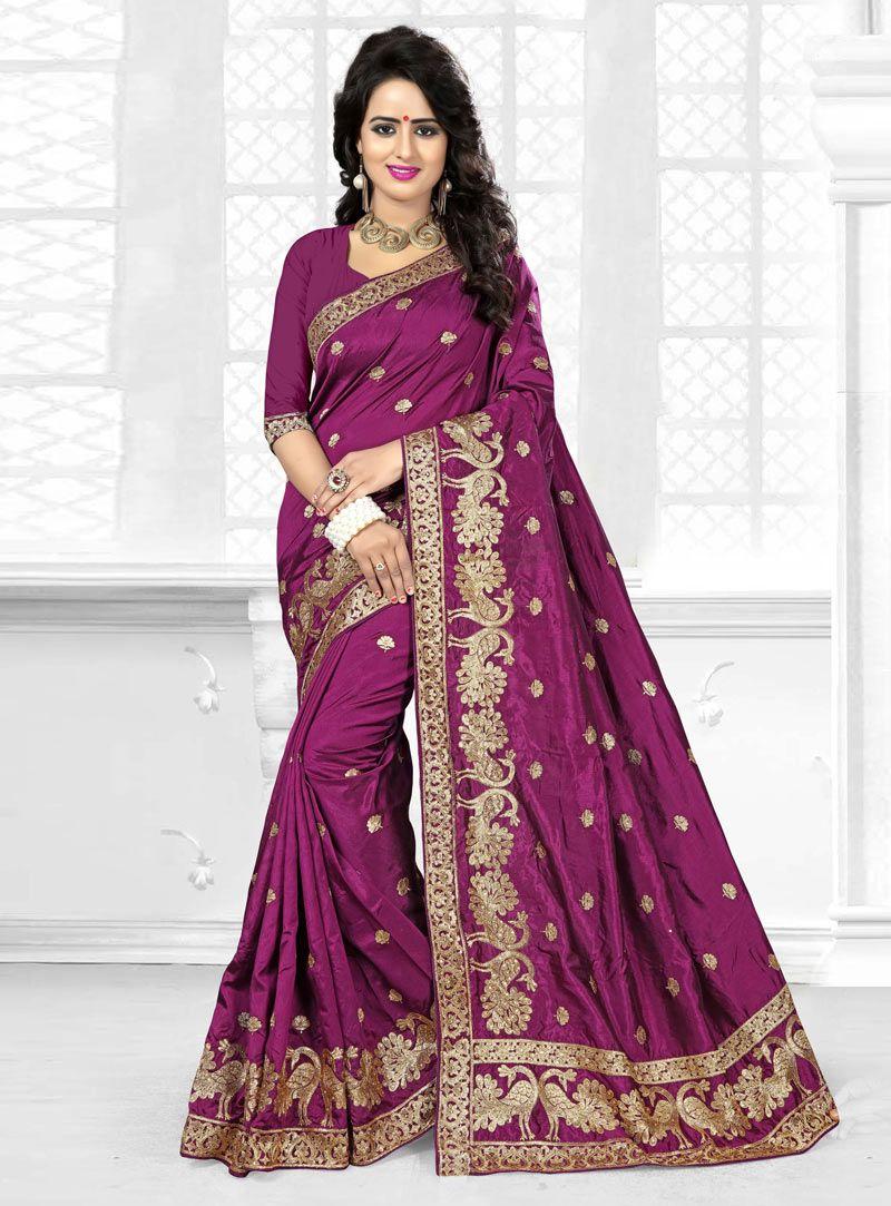 Purple Art Silk Festival Wear Saree 90128