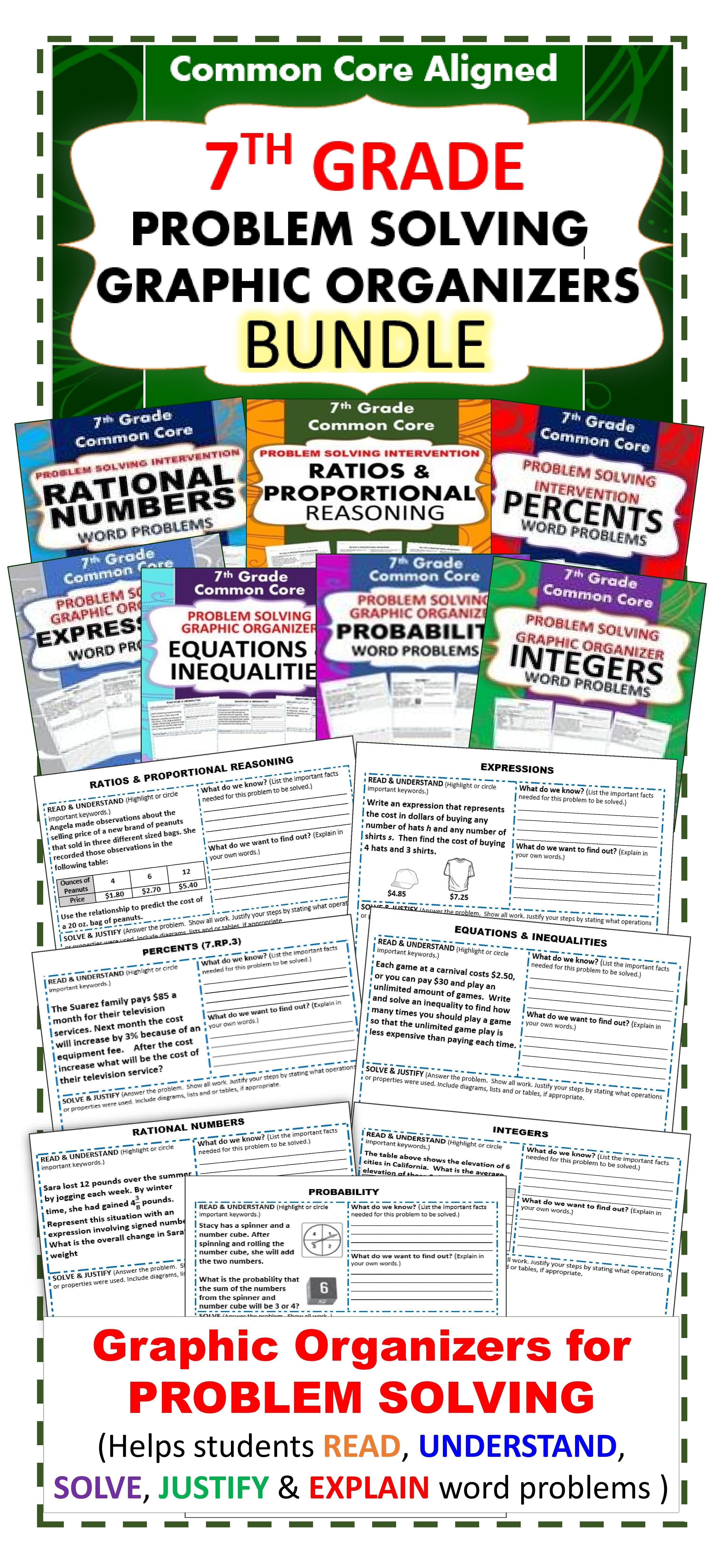7th Grade Math Word Problems Graphic Organizer Bundle