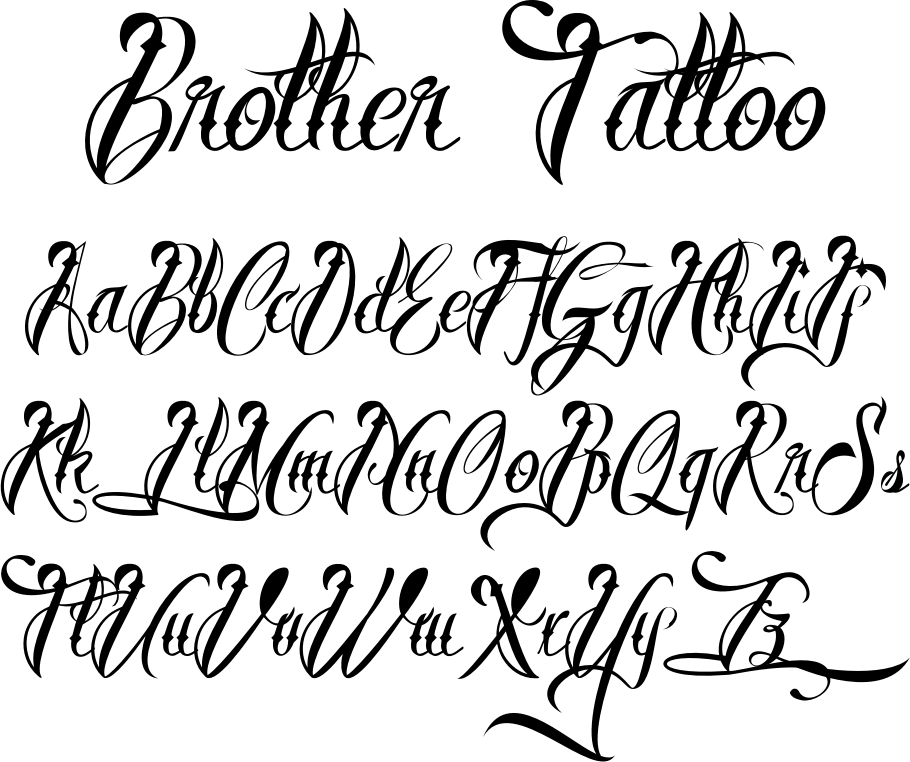 tattoo fonts brother tattoofont by m ns greb ck tattoo stuff pinterest tattoo fonts. Black Bedroom Furniture Sets. Home Design Ideas