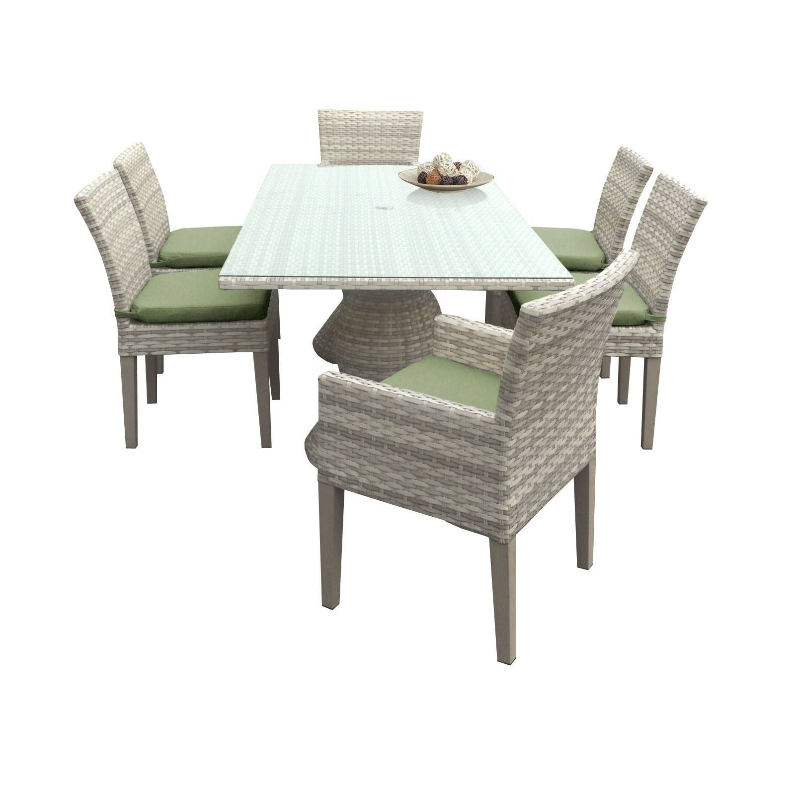 Catamaran Outdoor Patio Rectangular Wicker Dining Table With 4 Side Chairs And 2 Arm Crimson Grey Size 7 Piece Sets Furniture Acrylic