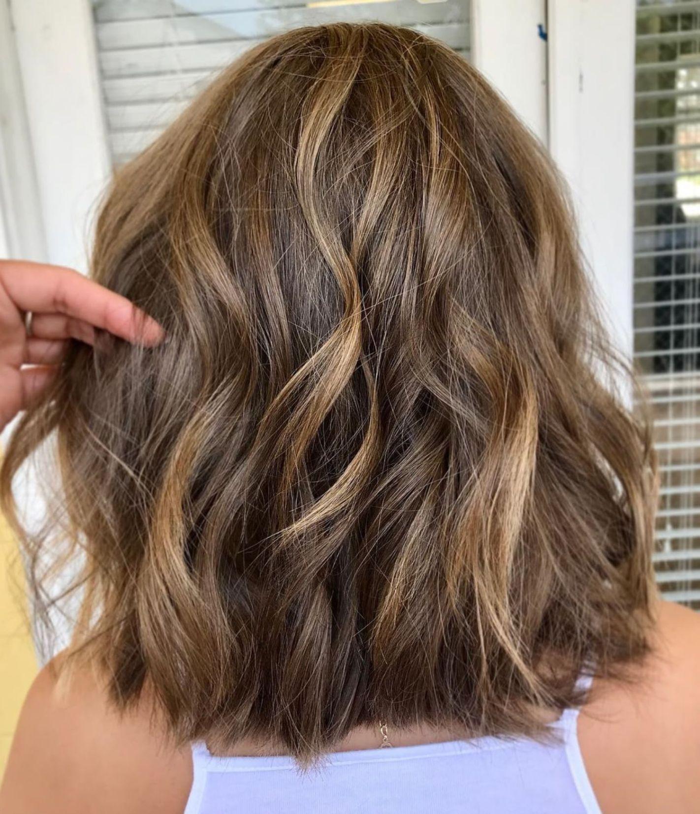 Thick Shaggy Golden Brown Lob   Thick hair styles medium ...