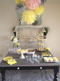Jessi S Shower With Images Baby Shower Yellow Grey Baby