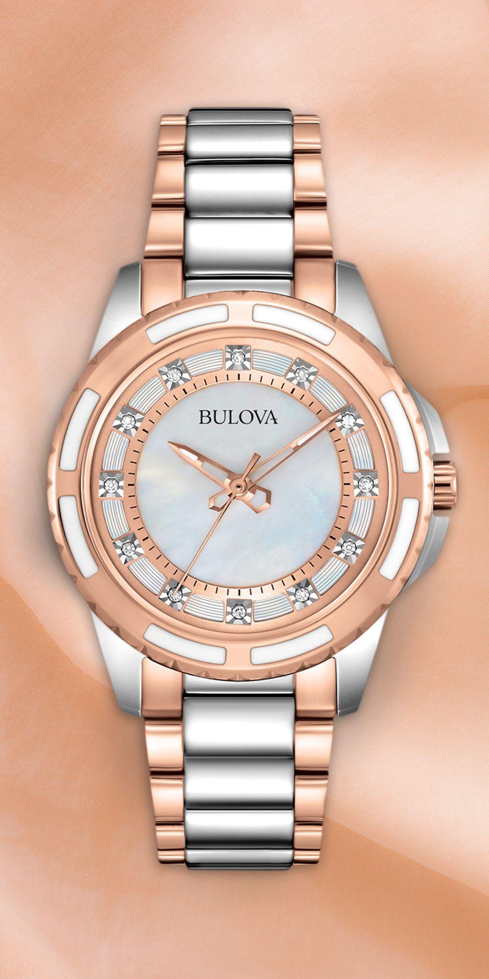 Rose gold for rosy cheeks. #Bulova #Diamond #reloj