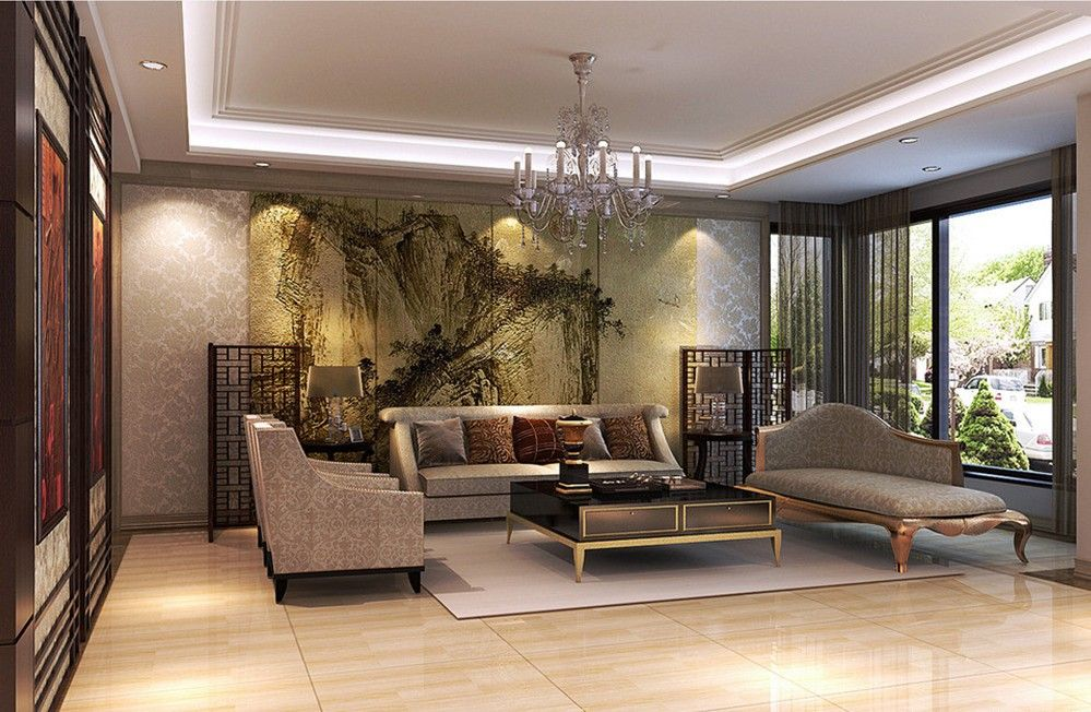 Zen Living Spaces living room interior design with classical chinese painting