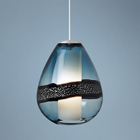 Lbl miyu 10 wide steel blue and satin nickel mini pendant pendant lightsblue andsatin