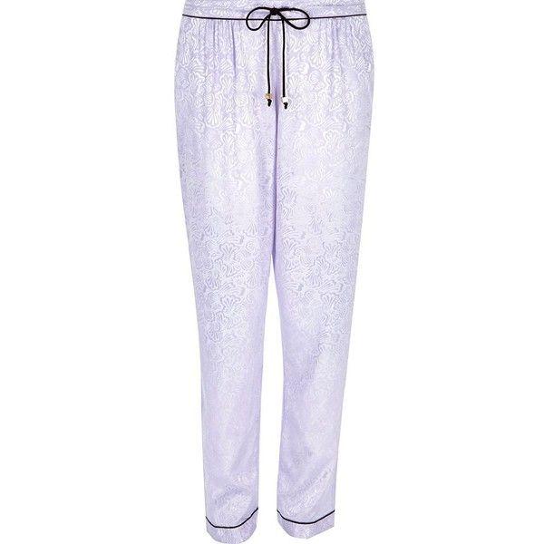 047dde32f9 River Island Purple lace jacquard pajama pants ( 16) ❤ liked on Polyvore  featuring intimates
