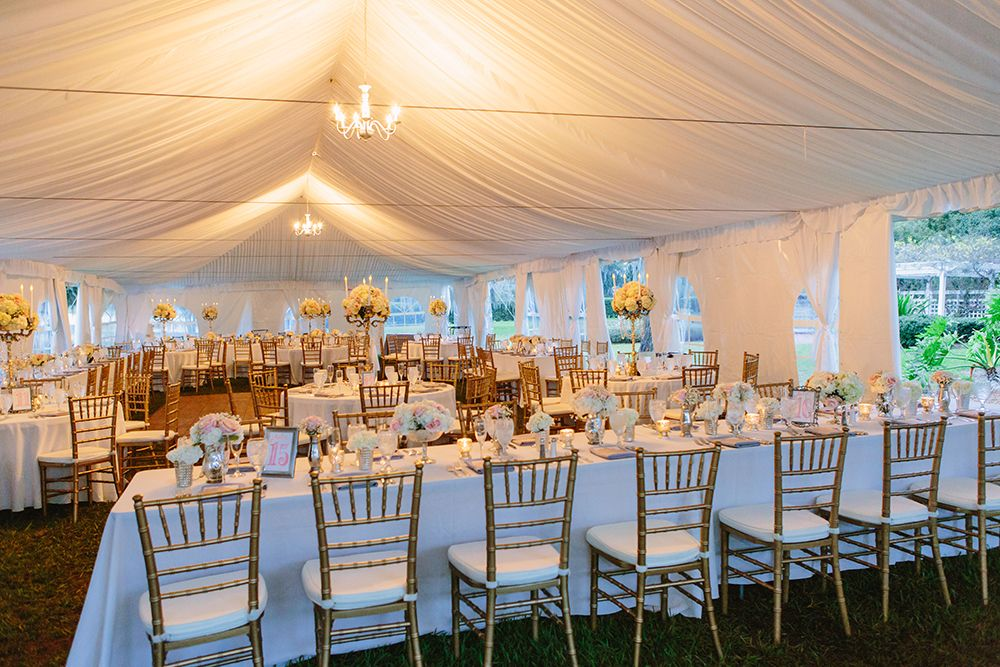 Cypress Grove Estate House Tented Reception White Wedding Decor